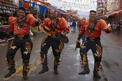 Caporales dancers at the Oruro Carnival stock photography