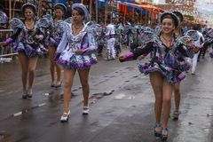 Caporales dancers at the Oruro Carnival stock images