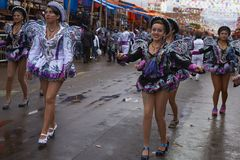 Caporales dancers at the Oruro Carnival royalty free stock photography