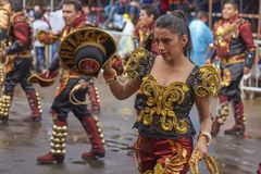 Caporales dancers at the Oruro Carnival royalty free stock photo