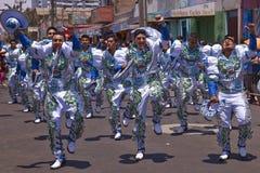 Caporales dansgrupp - Arica, Chile Arkivbilder