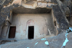 Cappadocia的里面古老洞教会 免版税图库摄影