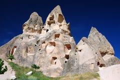 cappadocia安置uchisar的岩石 库存照片