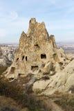 cappadocia被雕刻的家庭岩石火鸡 库存照片