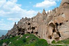 cappadocia锥体异乎寻常的形成地理goreme安置内部几其类似的岩石火鸡 免版税库存图片