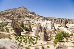 Cappadocia,土耳其 与风化柱子的风景看法在谷的修士(谷Pashabag) 免版税库存照片