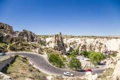 Cappadocia,土耳其 看法露天博物馆在Goreme国家公园 免版税库存照片