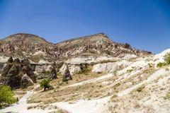 Cappadocia,土耳其 风化异想天开的工作在Pashabag谷(修士的谷的) 免版税库存照片