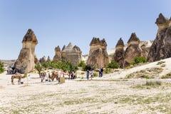 Cappadocia,土耳其 风化柱子的风景看法在修士(Pashabag)的谷的 免版税库存图片