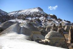 Cappadocia landskap reser den felika lampglaset, Turkiet Arkivfoton