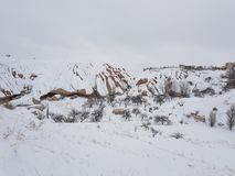 Cappadocia κάτω από το χιόνι Στοκ Φωτογραφία