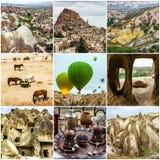 Cappadocia, Τουρκία Ταξίδι κολάζ - τοπία βουνών σπηλιών στοκ φωτογραφία με δικαίωμα ελεύθερης χρήσης