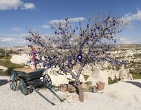 Cappadocia, Τουρκία Το δέντρο επιθυμίας διακόσμησε τις τουρκικές γοητείες ενάντια στο κακό μάτι Στοκ Εικόνες