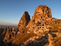 Cappadocia. Cave dwellings in the walls of Uchisar castle in Cappadocia Stock Photos