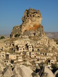 Cappadocia. Town of Orthisar in Cappadocia with ancient cave dwellings carved into the castle Stock Image