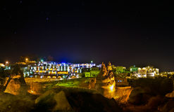 Cappadocia. Lansscape with light and stars in the night Royalty Free Stock Photography