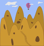 Cappadocia. Abstract landscape of Cappadocia earthen pyramids and flying balloon on blue sky background Royalty Free Illustration