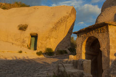 Cappadocia alien style building. At sunset Royalty Free Stock Photo