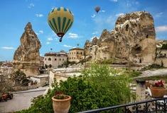 Cappadocia, Anatolia, Turkey. Goreme national park. Hot air ball Stock Image