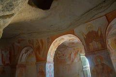 Cappadocia, Anatolie, Turquie : L'intérieur du temple Fresque de l'église avec un fresque orthodoxe tôt Le patrimoine mondial photo libre de droits