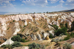 Cappadocia cave houses, Turkey. A valley with houses built into the hills of Cappadocia, Turkey royalty free stock photography