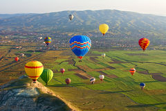 Cappadocia. Colorful hot air balloons flying, Cappadocia, Anatolia, Turkey. Cappadocia. Colorful hot air balloons flying over the valley at Cappadocia, Anatolia stock photo