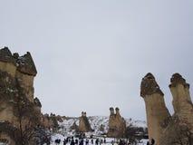 Cappadocia debajo de la nieve fotografía de archivo libre de regalías