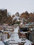 Cappadocia debajo de la nieve foto de archivo