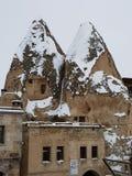 Cappadocia debajo de la nieve imágenes de archivo libres de regalías