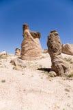 Cappadocia, die Türkei Berg-Devrent-Tal mit Säulen von Verwitterung Stockfotografie