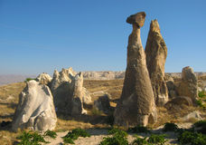 Cappadocia Fairy Chimneys rock formation nearby Goreme in Turkey Stock Photography