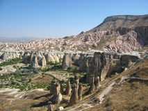 Cappadocia Fairy Chimneys rock formation nearby Goreme in Turkey Royalty Free Stock Images