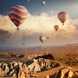 Cappadocia, flying balloon royalty free stock images