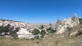 View over Goreme town in Cappadocia stock video footage