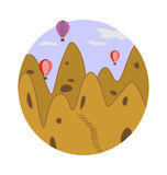 Cappadocia image. Abstract landscape of Cappadocia earthen pyramids and flying balloons on blue morning sky background in circle Vector Illustration
