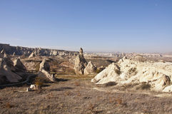 Cappadocia. The landscape of Cappadocia with rock formations at sunny autumn day Royalty Free Stock Images