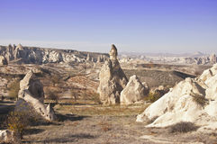 Cappadocia. The landscape of Cappadocia with rock formations at sunny autumn day Royalty Free Stock Image