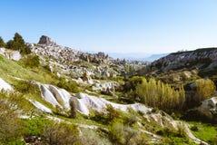 Cappadocia-Landschaft mit Felsenschloss und -ballon Stockfoto