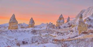 Cappadocia na de sneeuw stock fotografie
