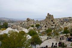 Cappadocia: panoramautsikt av staden Göreme Arkivfoton