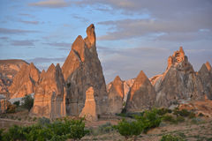 Cappadocia - sunlit pink rocks Royalty Free Stock Images