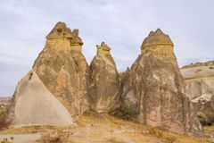 Cappadocia tuff formations landscape at cloudy day Royalty Free Stock Image