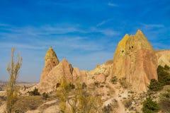 Cappadocia tuff rocks in autumn Royalty Free Stock Photos