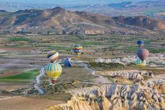 Cappadocia Turchia sul pallone immagini stock libere da diritti