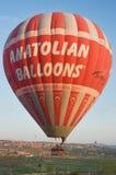CAPPADOCIA TURKEY ANATOLIAN BALLOONS. Fying Hot air balloon. Cappadocia Turkey, 12 of April 2012 Stock Photo