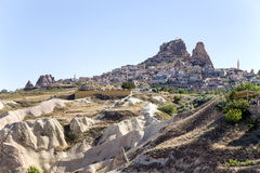 Cappadocia, Turkey. An ancient fortress - city Uchisar Royalty Free Stock Images