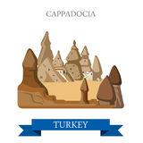 Cappadocia in Turkey attraction tourist attraction landmark. Cappadocia in Turkey. Flat cartoon style historic sight showplace attraction web site vector Royalty Free Stock Photo