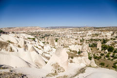 Cappadocia, Turkey. Beautiful landscape with pillars of weathering in the Valley of Pigeons near the town of Uchisar Royalty Free Stock Images