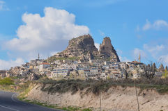 CAPPADOCIA TURKEY. Beautuful view on the rocks and old town in Cappadocia, Turkey. Spring Stock Images