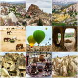 Cappadocia, Turkey. Collage travel - cave mountain landscapes Royalty Free Stock Photo